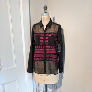 NWT Hurley Wilson Novelty Sheer Aztec Print Button